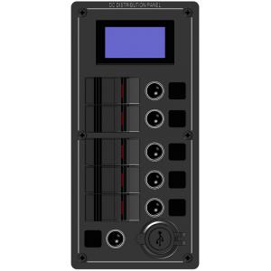 ΠΙΝΑΚΑΣ ΑΛΟΥΜΙΝΙΟΥ ΦΩΤΙΖΟΜΕΝΟΣ LED 5 ΘΕΣΕΩΝ, 2 USB, ΒΟΛΤΟΜΕΤΡΟ